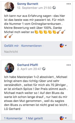Kundenmeinungen von Facebook zu Gitarre lernen online Bild