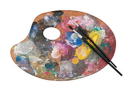 Colored artist's palette with two brushe