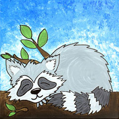Snoozing raccoon