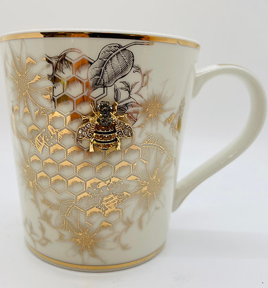 Bee mug with Sparkling Crystal bee