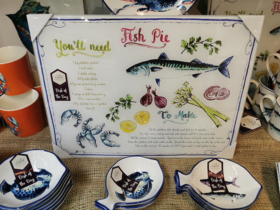 Fish themed glass chopping board space saver