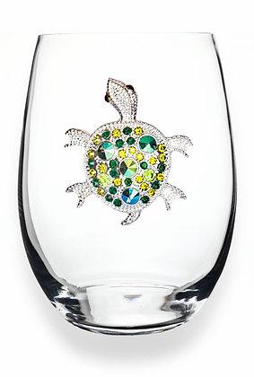 Diamanté turtle design glass tumbler