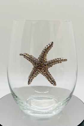 Sparkling diamanté starfish glass tumbler