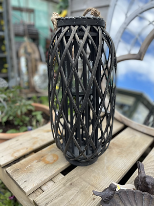 50 cm Black wicker lattice lantern