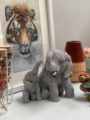 Diamonte Mama & Bubba Elephant Ornament