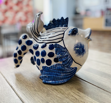 Glorious fish handmade delft teapot.