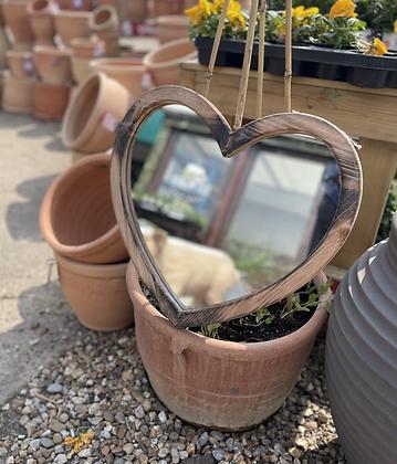 Wooden Heart garden mirror