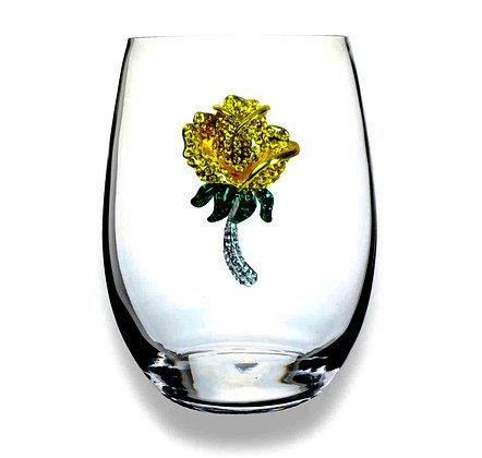 Diamanté yellow rose design glass tumbler