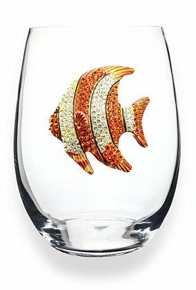 Diamanté orange fish design glass tumbler