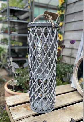 60 cm grey woven lantern
