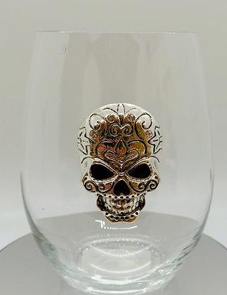 Sparkling diamanté skull glass tumbler