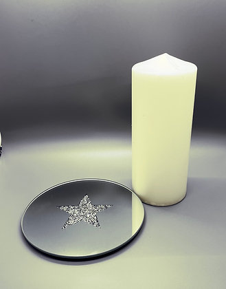 Bling star mirror candle plate 15.5cms