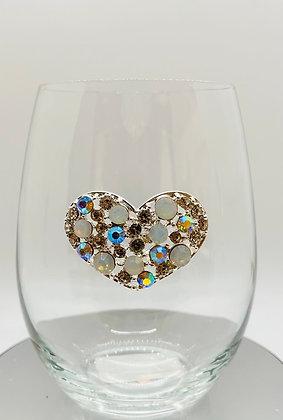 Sparkling diamanté heart glass tumbler