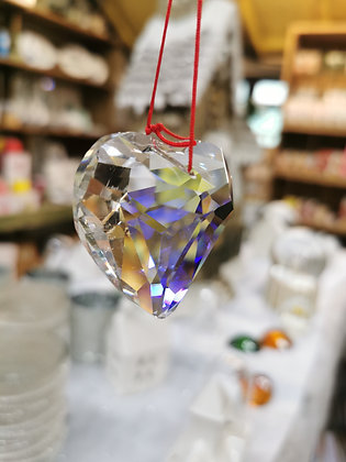 Crystal hanging heart glass decoration