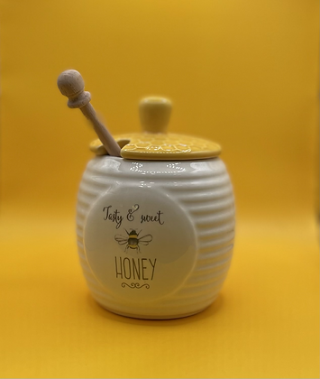Delightful honey jar with drizzler
