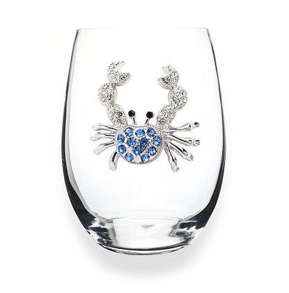 Diamanté crab glass tumbler
