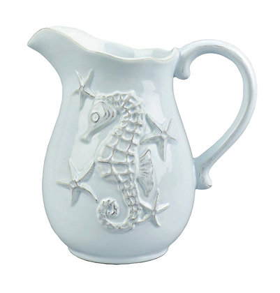 Sea horse pitcher in white