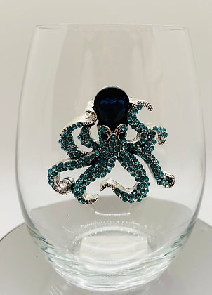 Sparkling diamanté octopus glass tumbler