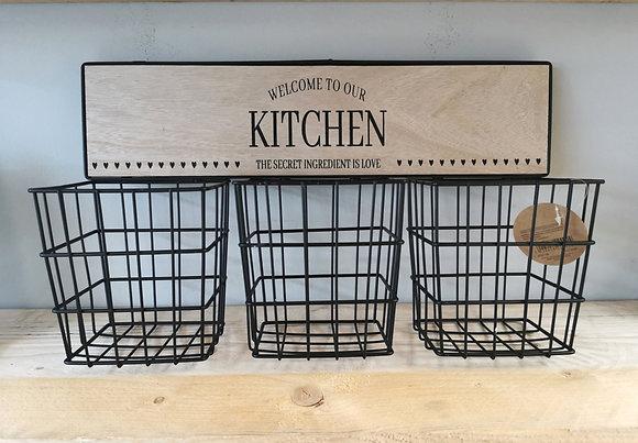 kitchen organiser wire hanging basket