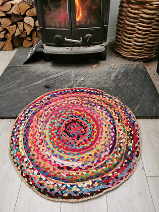 circular rag multicoloured rug