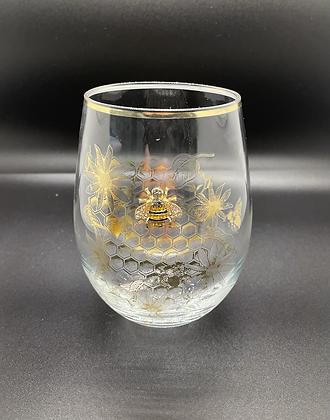 Diamanté bee glass tumbler