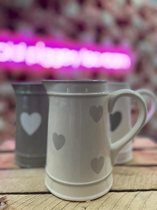 White heart jug• multi faded grey hearts