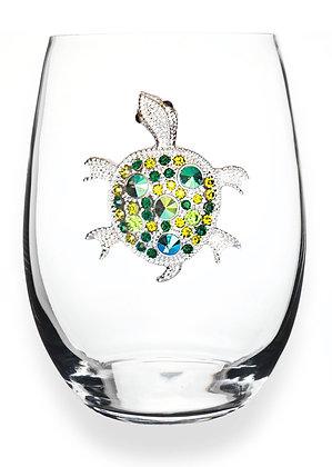 Diamanté turtle glass tumbler