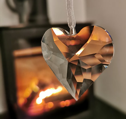 Crystal hanging heart decoration