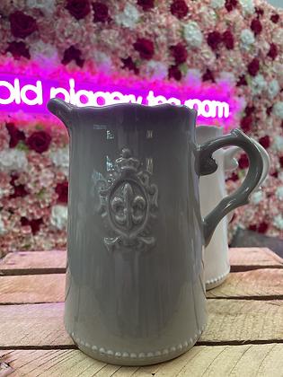 Fleur-de-lis jug grey