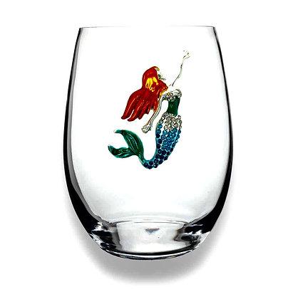 Diamanté mermaid design glass tumbler