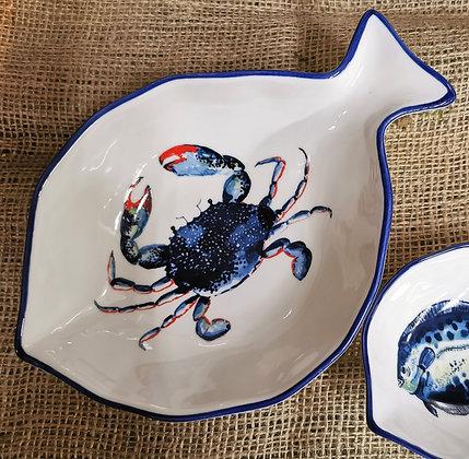 dish of the day crab serving bowl coastal theme