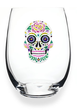 Diamanté skull design glass tumbler