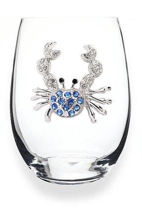 Diamanté crab design glass tumbler