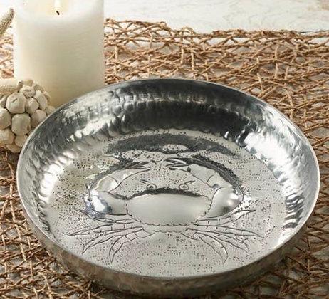 Hammered aluminium crab bowl