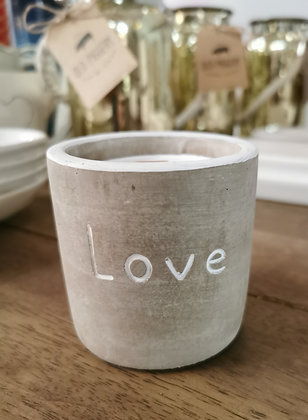 cement love shabby chic candle