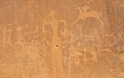 Rock engravings in Bir Hima, a rock art site in the province of Najran that encl