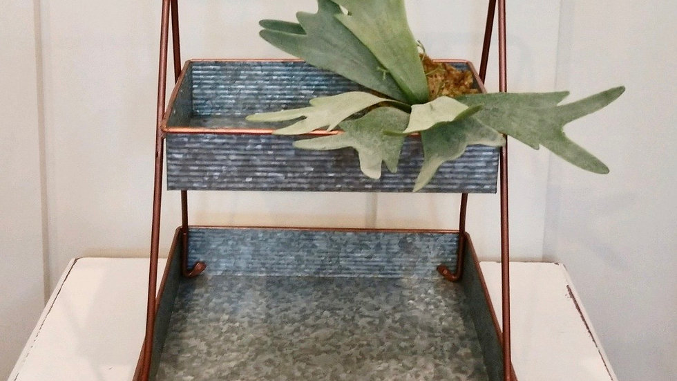 Metal and copper two tiered tray
