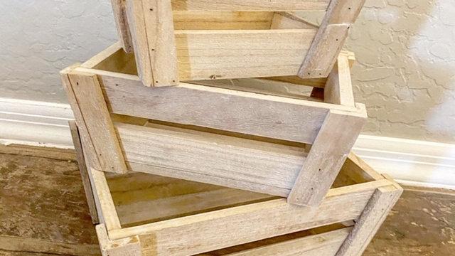 Set of 3 Raw Wood Crates/ Risers
