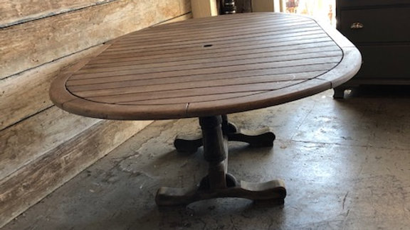 Teak Outdoor Table With Umbrella Hole