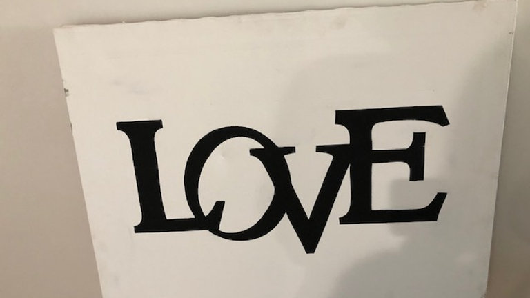 Painted Wood LOVE Sign