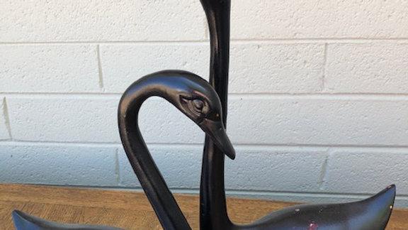 Set of Black metal swans