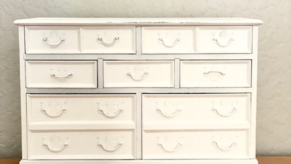 7 Drawer White Wood Jewelry Box with Music Box