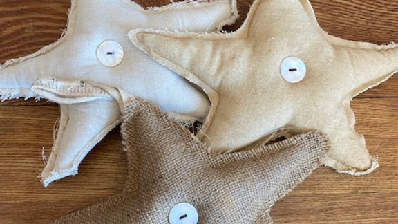 "Set of 3 9"" Fabric Star Ornaments"