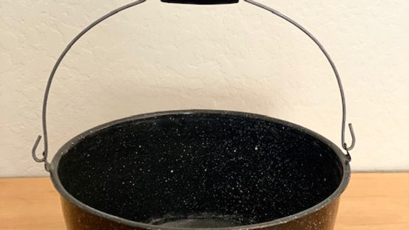 Large Black & White Speckled Enamel Handled Pot