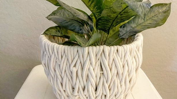Small White Cotton Braided Basket