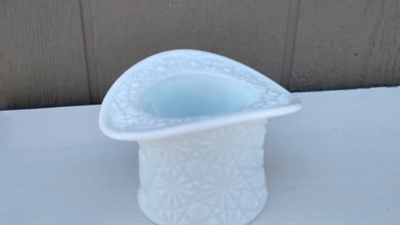 White milk Glass vintage hat bowl