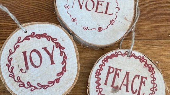 """1"""" thick natural wood slice Noel, joy, peace ornament or package tie on"""