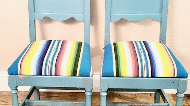 Set of 2 Vintage Chairs With Vintage Mexican Blanket Upholstery
