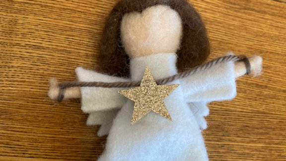 Felted Wool Angel Ornament/Package Tie On