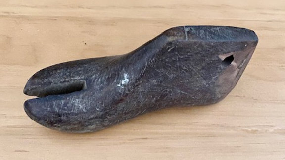 Child's size wood shoe form with Split Toe
